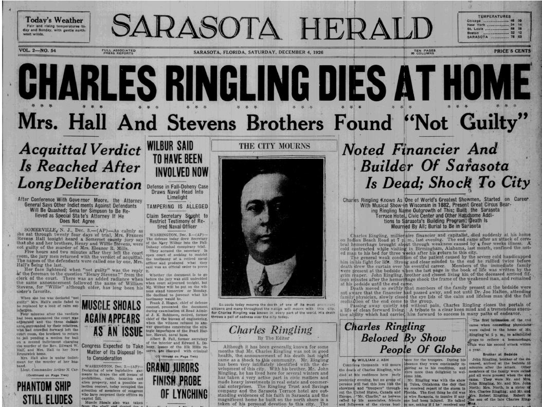 Charles Dies at Home 1926